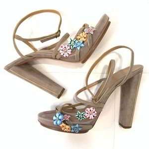 BALENCIAGA Suede Flower Detail Sandals Sz 41